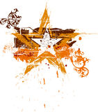 флористическая звезда grunge золота Стоковая Фотография