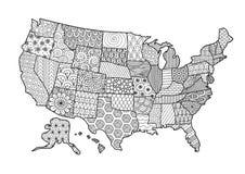 Флористическая карта США для элемента дизайна и страницы книжка-раскраски взрослого также вектор иллюстрации притяжки corel Стоковое Изображение RF