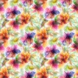 флористическая картина безшовная Акварель цветет предпосылка цветастые цветки иллюстрация вектора