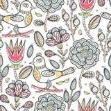 флористическая картина безшовная Вручите вычерченные абстрактные творческие цветки и птицу с ходом Стоковое Изображение RF
