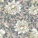флористическая картина безшовная Предпосылка сада эффектной демонстрации с цветками Стоковые Изображения