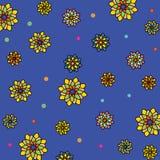 Флористическая картина вектора: пестротканые цветки с много лепестков на голубой предпосылке Стоковые Изображения