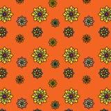 Флористическая картина вектора: пестротканые цветки с много лепестков на оранжевой предпосылке Главные цвета: желтый цвет, апельс Стоковое Фото
