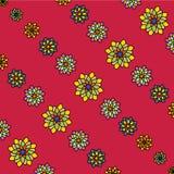 Флористическая картина вектора: пестротканые цветки с много лепестков на красной предпосылке Стоковые Изображения RF