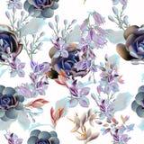 Флористическая картина вектора с суккулентными заводами и цветками иллюстрация вектора