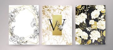 Флористическая конструкция рамки Расположение приглашения свадьбы Ботанический состав иллюстрация вектора