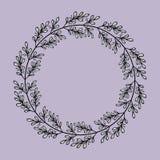 Флористическая круглая рамка с ветвями doodle бесплатная иллюстрация