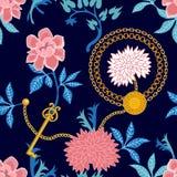 Флористическая печать с золотыми ключами иллюстрация вектора