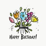 Флористическая поздравительая открытка ко дню рождения для вашего дизайна Стоковая Фотография RF
