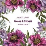 Флористическая поздравительная открытка с пионами, крокусами и жасмином Стоковая Фотография RF