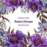 Флористическая поздравительная открытка с пионами, крокусами и жасмином Стоковое Фото