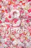Флористическая предпосылка, день 8-ое марта ` s женщин поздравительной открытки счастливый Стоковое Фото