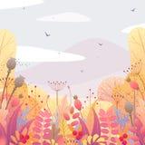 Флористическая предпосылка с листьями и ягодами осени Стоковые Фотографии RF
