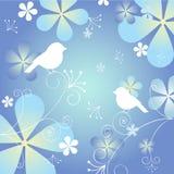 Флористическая предпосылка с птицами Стоковые Изображения RF