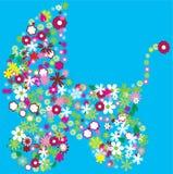 флористическая прогулочная коляска иллюстрация штока