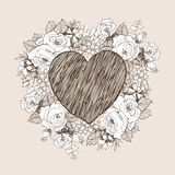 Флористическая рамка дизайна вектора с большим сердцем Линейные розы, эвкалипт, ягоды, силуэт witn листьев белый вычерченная рука стоковая фотография
