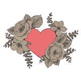 Флористическая рамка дизайна вектора с большим сердцем Линейные розы, эвкалипт, ягоды, силуэт witn листьев коричневый вычерченная стоковые изображения