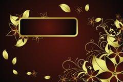 флористическая рамка золотистая Стоковая Фотография