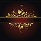 флористическая рамка золотистая Стоковое Изображение RF