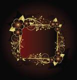 флористическая рамка золотистая Стоковые Фотографии RF
