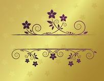 флористическая рамка золотистая Стоковые Изображения