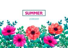 флористическая рамка обрамляет серию Шаблон тропических цветков ультрамодный Вертикальный дизайн с красивыми цветками и ладонью в Стоковые Изображения