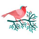 Флористическая рамка с красочной птицей над ветвью дерева с листьями и ягодами иллюстрация вектора