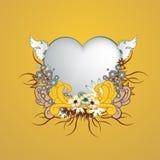 Флористическая рамка с формой сердца Стоковые Фотографии RF