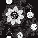 Флористическая черно-белая безшовная картина иллюстрация вектора