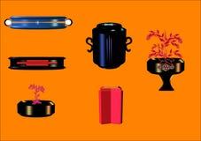 флористические вазы комплекта 3d Стоковое Изображение RF