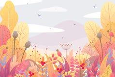 Флористические граница и ландшафт осени Стоковое фото RF