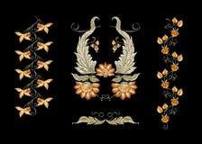 Флористические декоративные элементы в jacobean стиле вышивки иллюстрация штока