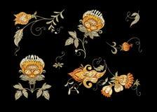 Флористические декоративные элементы в jacobean стиле вышивки бесплатная иллюстрация