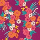 Флористические джунгли с картиной змеек безшовной, тропическими цветками и листьями, ботанической рукой нарисованное живое Стоковая Фотография RF