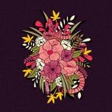 Флористические джунгли с картиной змеек, тропическими цветками и листьями, ботанической рукой нарисованное живое Стоковые Изображения