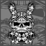 Флористические орнаментальные черепа, вектор чертежа руки иллюстрация штока