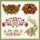 Флористические орнаменты в восточном типе иллюстрация вектора