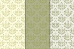 флористические установленные орнаменты Картины прованского зеленого цвета вертикальные безшовные Стоковое Фото