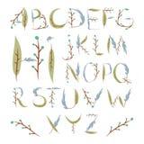 Флористический алфавит сделанный из ягод и листьев Лето нарисованное рукой fo Стоковое Изображение RF