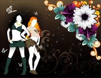 флористический вектор девушки Стоковое Изображение