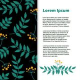 Флористический вектор знамени Рогулька с листьями и вышивкой цветков Стоковое Изображение