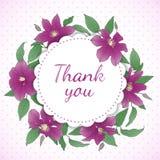 Флористический венок с цветками Clematis Стоковая Фотография