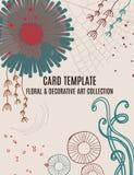 Флористический волшебный дизайн шаблона карточки приглашения приветствию, листья с кругами, нарисованные заводы и рука doodle гра Стоковые Фотографии RF