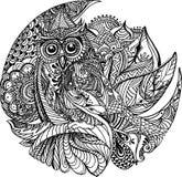 Флористический дизайн сыча Стоковое Изображение RF