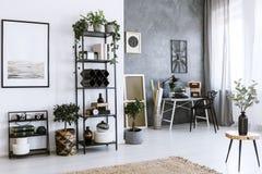 Флористический интерьер домашнего офиса иллюстрация вектора