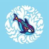 Флористический кит косатки в круге декоративных волн r иллюстрация штока
