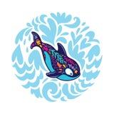 Флористический кит косатки в круге декоративных волн r иллюстрация вектора