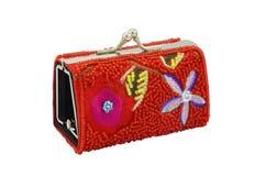 флористический красный цвет портмона Стоковые Изображения RF