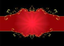 флористический красный цвет ярлыка Стоковое Фото