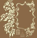 Флористический орнамент год сбора винограда с местом для текста, карточки Валентайн Стоковая Фотография RF